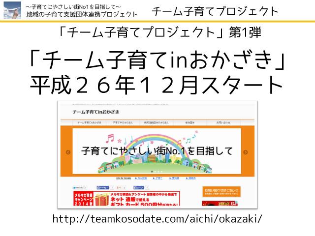 「チーム子育てプロジェクト」第1弾 「チーム子育てinおかざき」 平成26年12月スタート